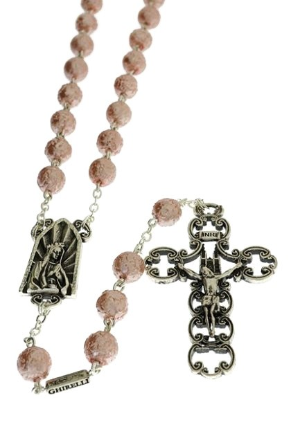 Rosario Katedral Bohemian Glass pearly effect pink