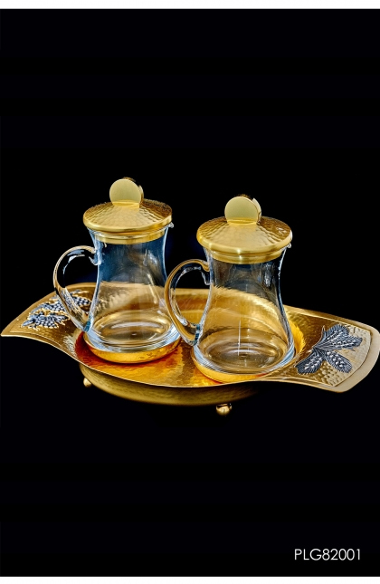 AMPUL - set wheat & grapes in gold plated 24K