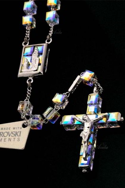 Rosario Crystal Swarovski Element - Silver Plated