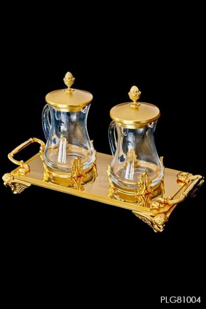 AMPUL - set 4 angels tray in gold plated 24K