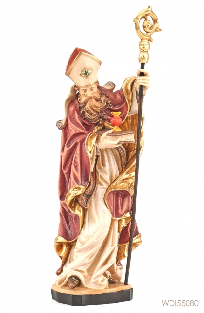 Woodcarved Statue St Augustine Of Hippo with Burning Heart