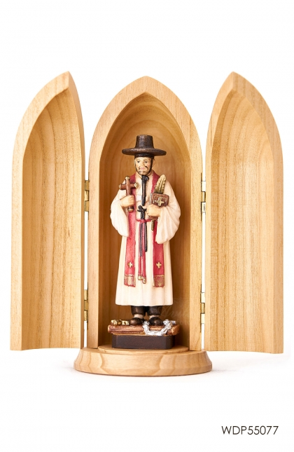 WOODCARVED STATUE - St Kim Tae Gon in wood tube