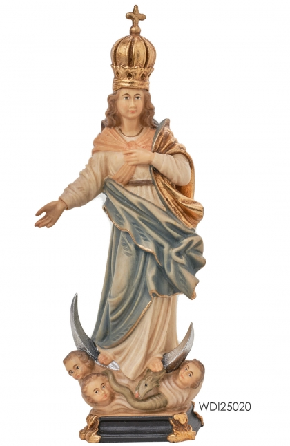 Woodcarved Statue Immaculate Mary with Angels