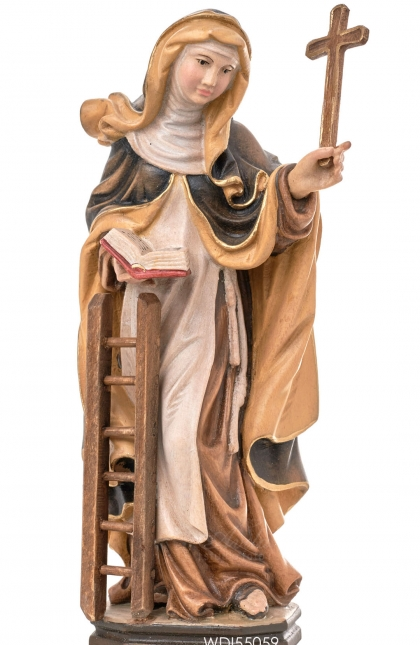 Woodcarved Statue St. Angela Merici with cross and ladder