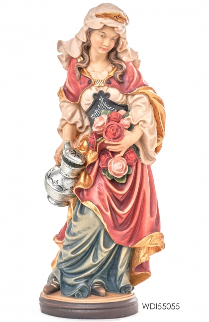 Woodcarved Statue St. Elizabeth with rose