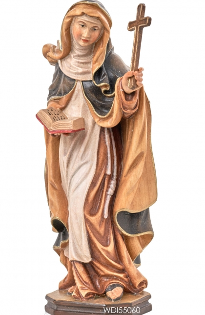 Woodcarved Statue St. Ingrid with cross