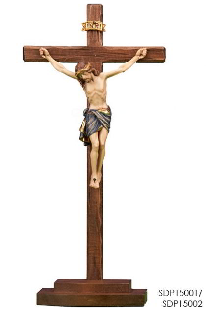 Salib Duduk Woodcarved Siena corpus on stained cross and base