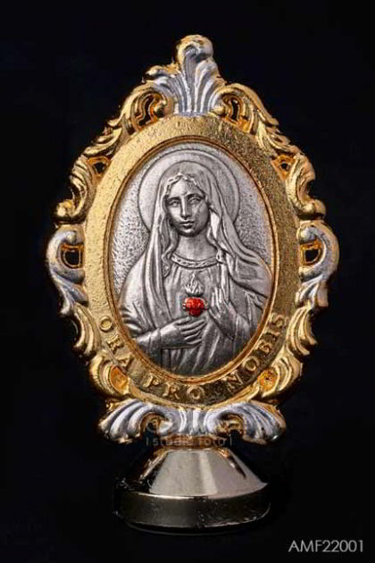 AKSESORIS ROHANI - Immaculate Heart of Mary metal dengan border warna emas