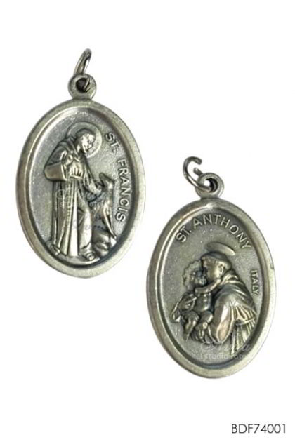 MEDAL- 2 sides St Francis of Asisi & St Anthony of Padova oval