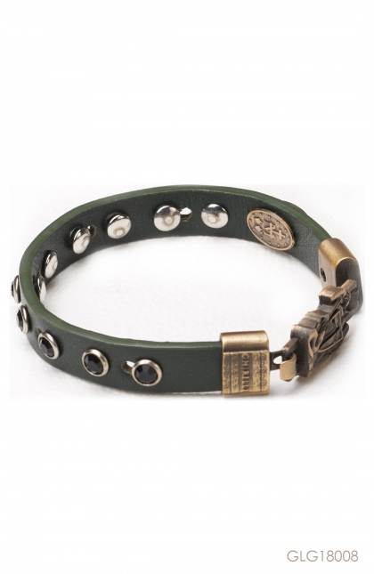 Gelang Fides St. Michael Bracelet Fine Leather - Crystal Black Rhinestones