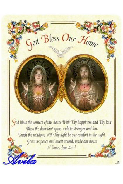 Poster hot gold Printed image God bless our home.