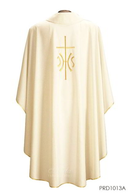 PAKAIAN LITURGI - Casula IHS screziato with gold thread