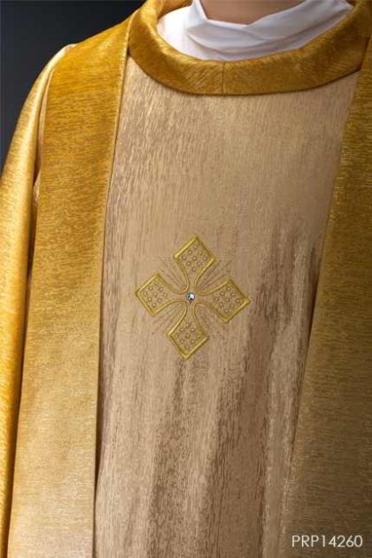 PAKAIAN LITURGI Casula & Stola gold 3 cross with swarovski