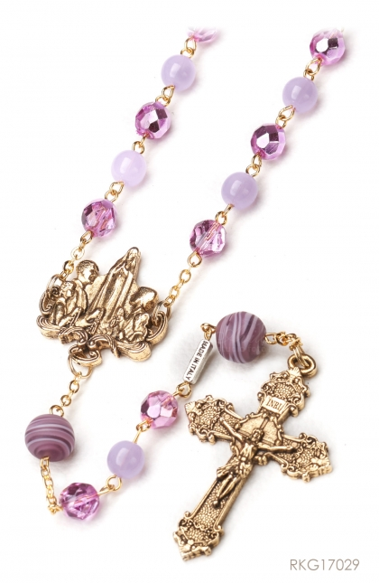 The Rosary for the Family - Bohemian glass beads in 8 mm size with pink/purple pastel color