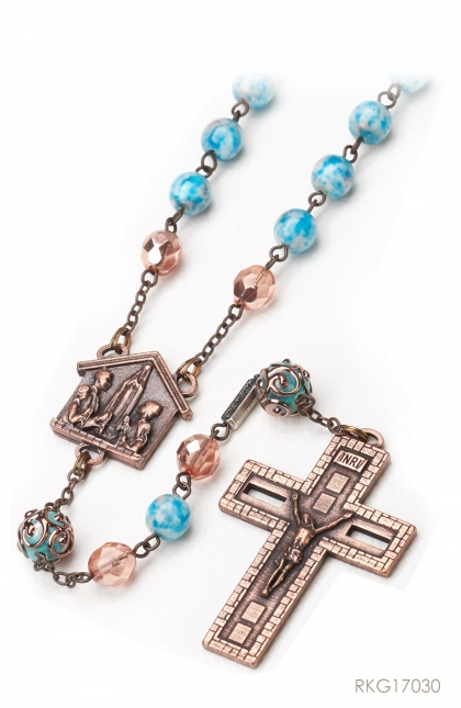 The Rosary for the Family - Bohemian glass faceted beads in 8 mm size and pink color with mirror/reflective effect