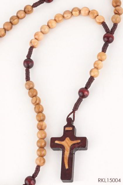 ROSARIO Olive wood with silhouette crucifix