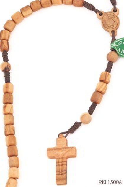 ROSARIO Olive wood cylinder beads with silhouette crucifix