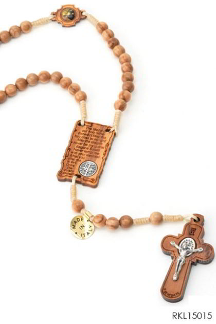 ROSARIO Olive wood rosary with St. Benedict cross, pater and centerpiece - laser engraved