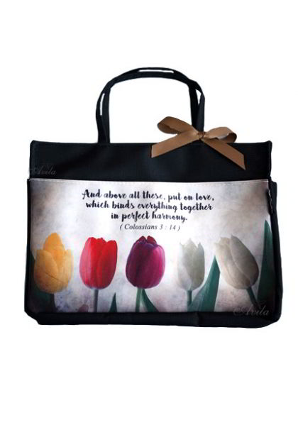 Bag Organizer Zipper Tulisan Rohani Colossians 3:14