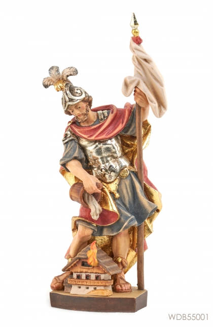 Woodcarved Statue St Florian with House
