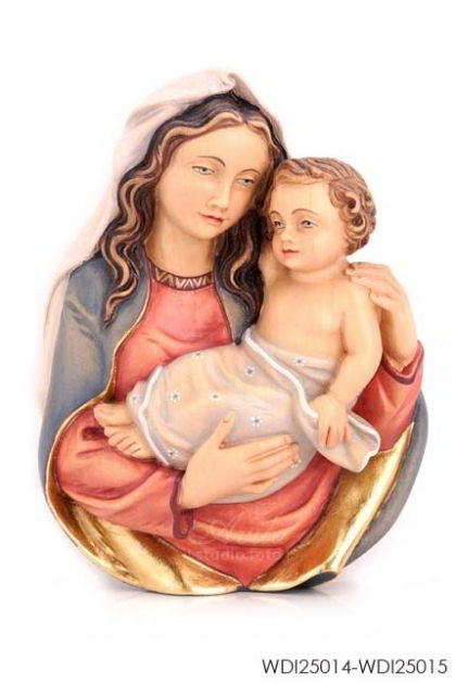 Woodcarved Statue - Madonna and Child (Wall)