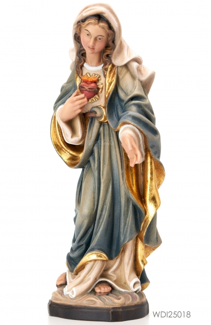 Woodcarved Statue Madonna Sacred Heart