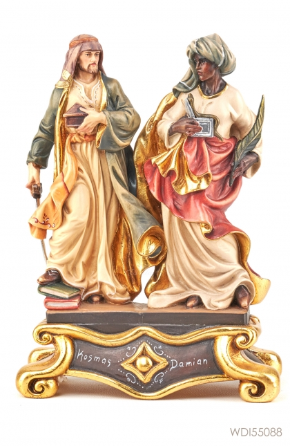 Woodcarved Statue St Cosmas & St Damian Group
