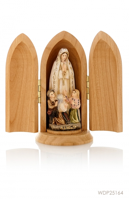 Woodcarved Statue - Our Lady of Fatima with Little Shepperds Classic