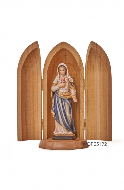 Woodcarved Statue - Sacred Heart of Mary in Woodtube