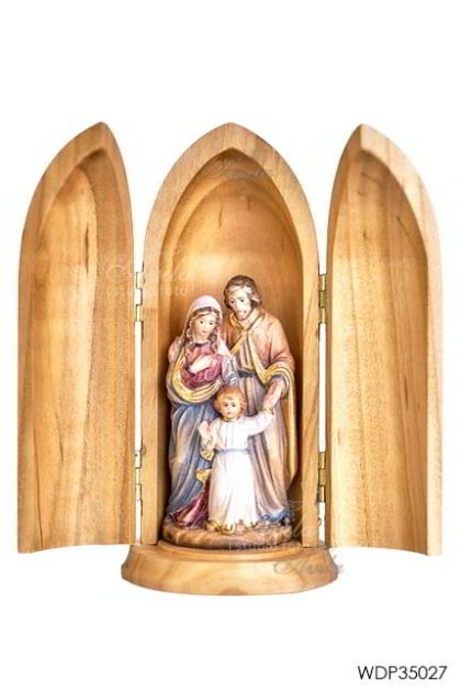 Woodcarved Statue Holy Family With Jesus Child in wood tube