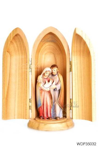 Woodcarved Statue - Holy Family Pema in wood tube