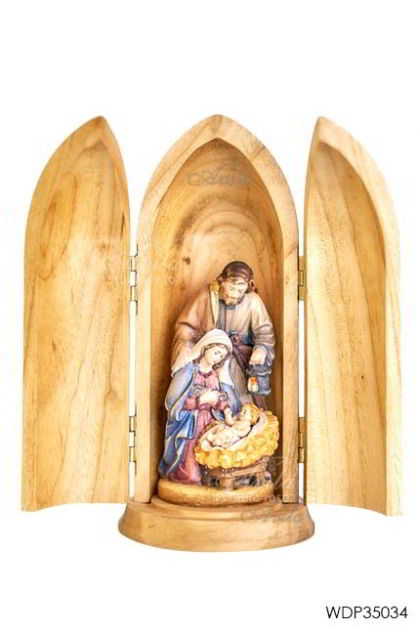 Woodcarved Statue - Holy Night Crib in wood tube
