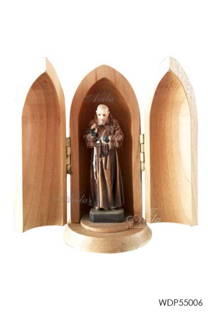 WOODCARVED STATUE Padre Pio in wood tube