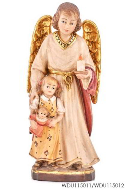 Woodcarved Statue - Guardian Angel with girl