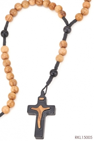 -ROSARIO Olive wood rosary with round beads and Tao silhouette crucifix