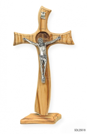 SALIB DUDUK CRUCIFIX BENEDICT 33X17 CM OLIVE WITH MEDAL LASER WOOD